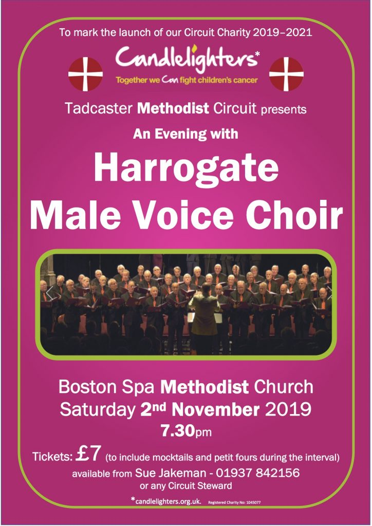 a poster for the Harrogate Male voice choir at Boston Spa Sat 2nd November 7.30pm